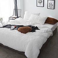 Одеяло покрывало травка пушистик белое с наполнителем холлофайбер меховое с длинным ворсом ЕВРО 210*230