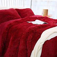 Одеяло покрывало травка пушистик Бордовое с наполнителем холлофайбер меховое с длинным ворсом ЕВРО 210*230