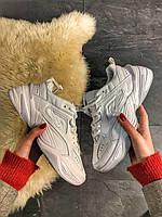 Женские кроссовки Nike M2K Tekno Triple White, Женские Найк М2К Текно Белые Кожаные