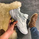 Женские кроссовки Nike M2K Tekno Triple White, Женские Найк М2К Текно Белые Кожаные, фото 2