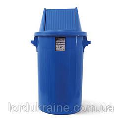 Мусорный бак типа буфет с поворотной крышкой синий пластик 90л BCK 107