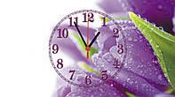 """Часы настенные стеклянные  """"Сиреневые тюльпаны""""          , фото 1"""