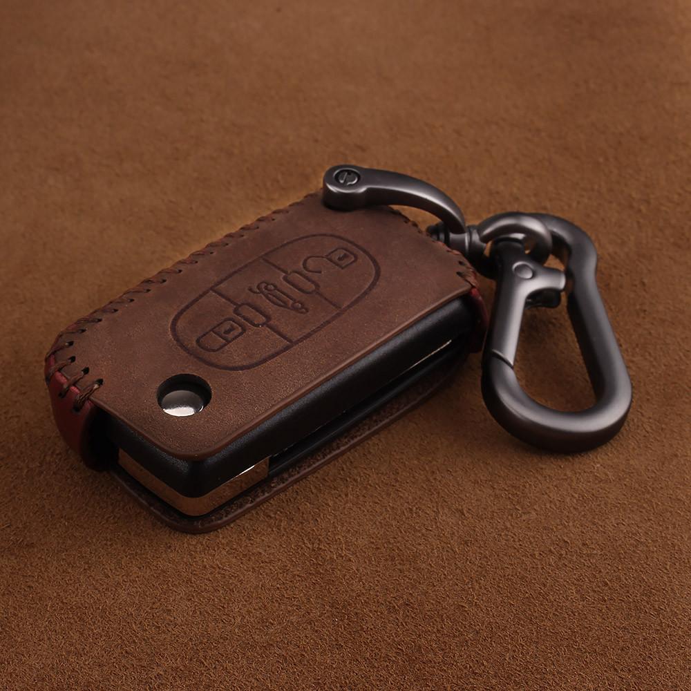 Премиальный кожаный защитный чехол для флип ключа CITROEN (Ситроен) коричневый 3 кнопки