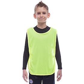 Манишка для футбола юниорская с резинкой (сетка) CO-1675 (PL, р-р S-58x36+13см, цвета в ассортименте)