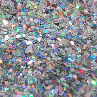 Глиттер голографический серебро-5 грамм-1 мм