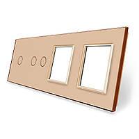 Сенсорная панель выключателя Livolo 3 канала и две розетки (1-2-0-0) золото стекло (VL-C7-C1/C2/SR/SR-13), фото 1