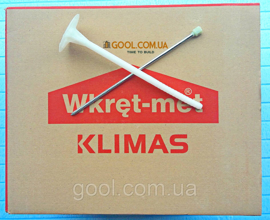 Дюбель Wkret-Met LFM 10х180мм для минеральной ваты и пенопласта в газобетон керамический блок с термоголовкой