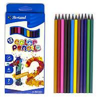 Олівці кольорові, 12 кольорів, пластикові, Арт.BD-7012, Bertand