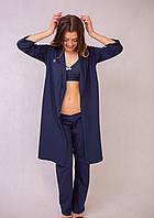 6501(55)603(55)8855 Топ, шорты и халат для беременных Синие, фото 1