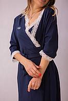 6501(99)603(55)8899 Штаны, топ с кружевоми халат с кружевом для беременных Синие