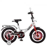 Велосипед детский PROF1 16д. XD1645 (1шт) Original boy,бело-красный,свет,звонок,зерк.,доп.колеса, фото 1
