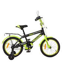 Велосипед детский PROF1 16д. SY1651  Inspirer,черно-салат(мат),свет,звонок,зерк.,доп.колеса, фото 1