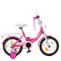 Велосипед детский PROF1 14д. XD1413 (1шт) Princess,малиновый,свет,звонок,зерк.,доп.колеса, фото 1