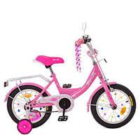 Велосипед детский PROF1 14д. XD1411 (1шт) Princess,розовый,свет,звонок,зерк.,доп.колеса, фото 1