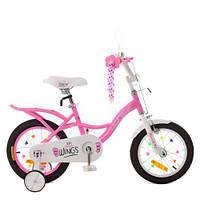Велосипед детский PROF1 14д. SY14191 (1шт) Angel Wings,розовый,свет,звонок,зерк.,доп.колеса, фото 1