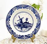 Настенная фарфоровая тарелка с мельницей, делфтский фарфор, Делфт, Delft, Голландия, фото 3