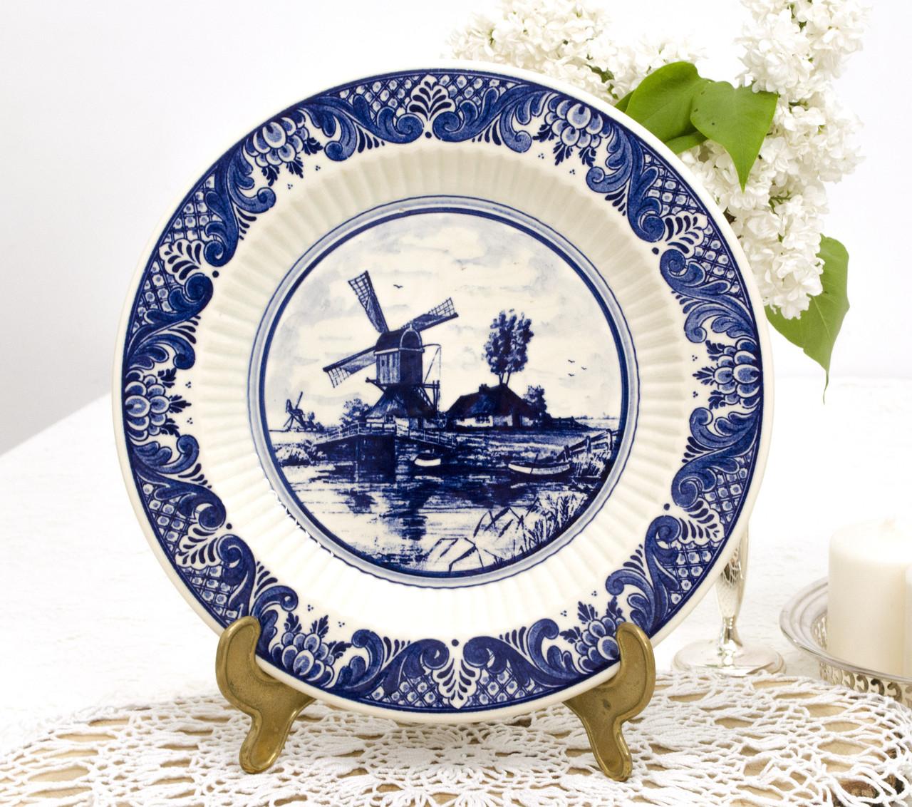 Настенная фарфоровая тарелка с мельницей, делфтский фарфор, Делфт, Delft, Голландия
