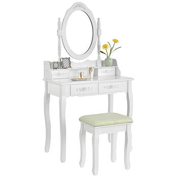 Туалетний столик Ванеса 75см білий з дзеркалом і стільчиком Germany quality Трюмо в спальню