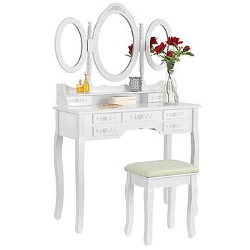 Туалетний столик Монтенегро 90см білий з дзеркалом і стільчиком Germany quality Трюмо в спальню