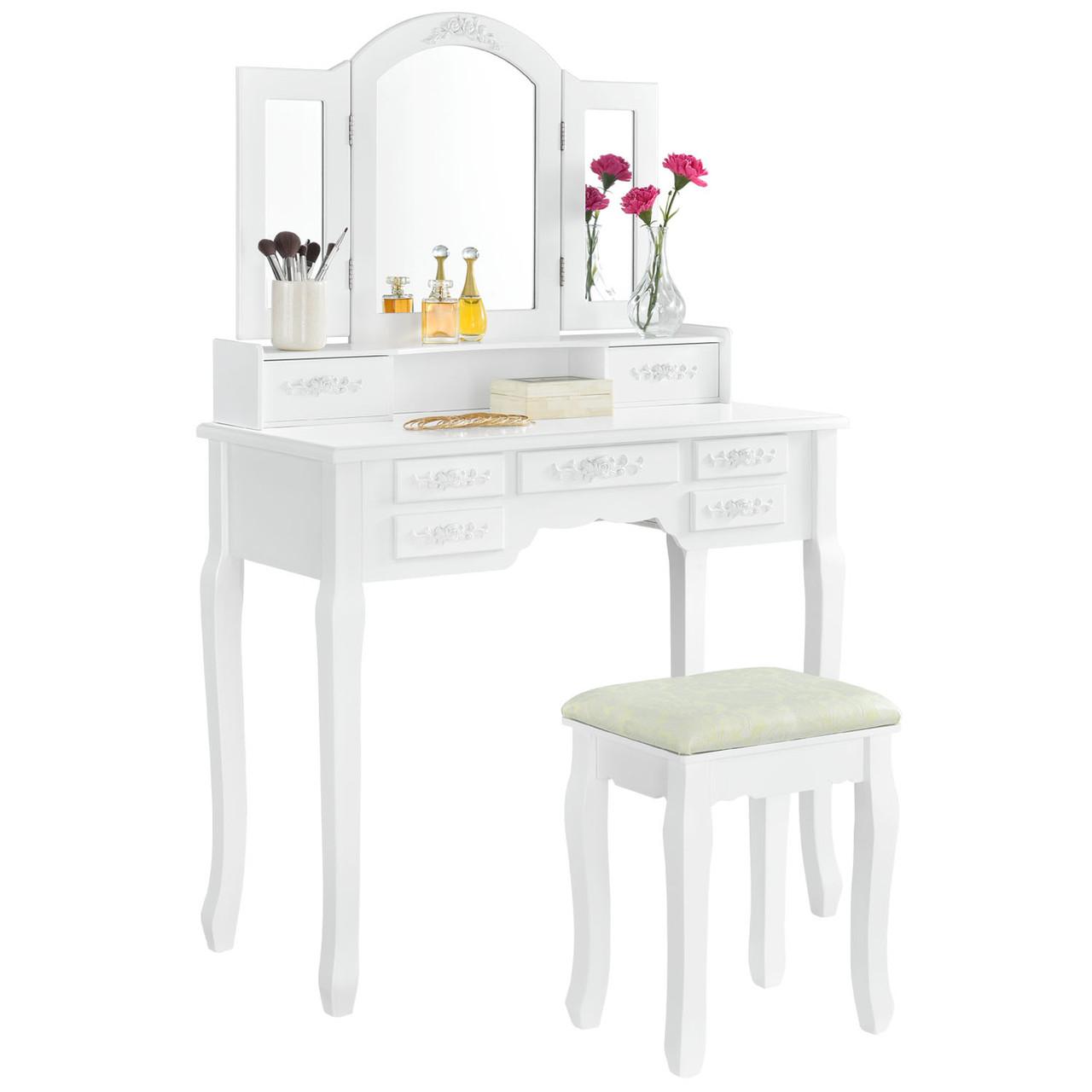 Туалетный косметический столик Кензо белый с зеркалом Трюмо в спальню