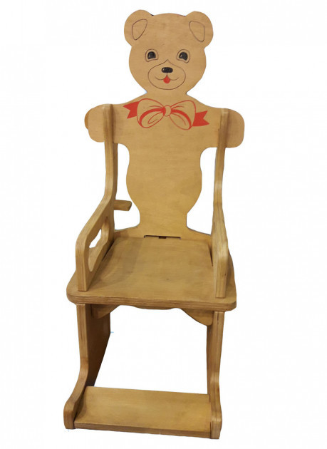 Крісло-гойдалка HEGA Ведмедик дерев'яний яскравий з розписом з усіх сторін
