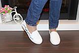 Слипоны женские белые с вышивкой Сакура Т1013, фото 5