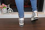 Сникерсы кроссовки женские серебристые с белыми вставками Т1022, фото 3