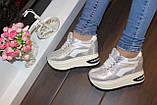 Сникерсы кроссовки женские серебристые с белыми вставками Т1022, фото 4