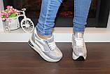 Сникерсы кроссовки женские серебристые с белыми вставками Т1022, фото 6