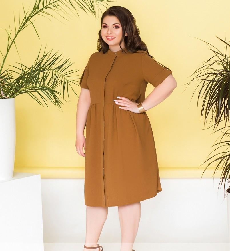 Лёгкое платье большого размера с подолом, подшитым к лифу