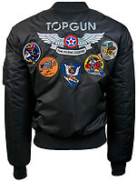 "Оригинальный бомбер Top Gun Official MA-1 ""WINGS"" bomber jacket with patches TGJ1738 (Black), фото 1"