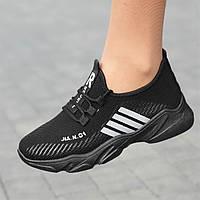 Кроссовки женские черные летние весенние модные популярные ( код 6542 ) - жіночі кросівки чорні модні зручні
