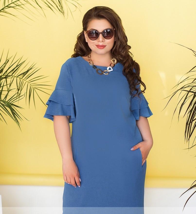 Женское летнее платье с рукавами-воланами
