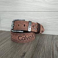 Кожаный джинсовый ремень коричневый (реплика)