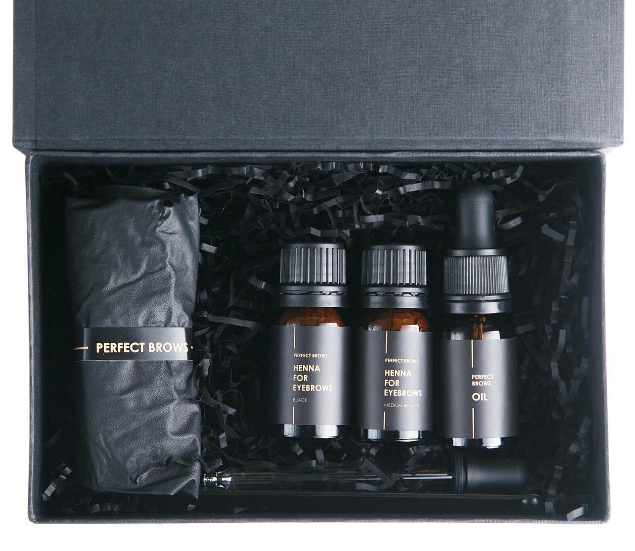 Zara Brows Набор хны для бровей (чёрный 10 г, коричневый 10 г, масло 10 г, ложка, пипетка)