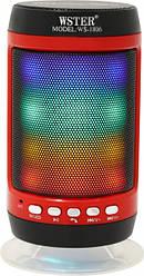 Колонка портативная Bluetooth со светомузыкой WSTER WS-1806 FM AUX USB Black