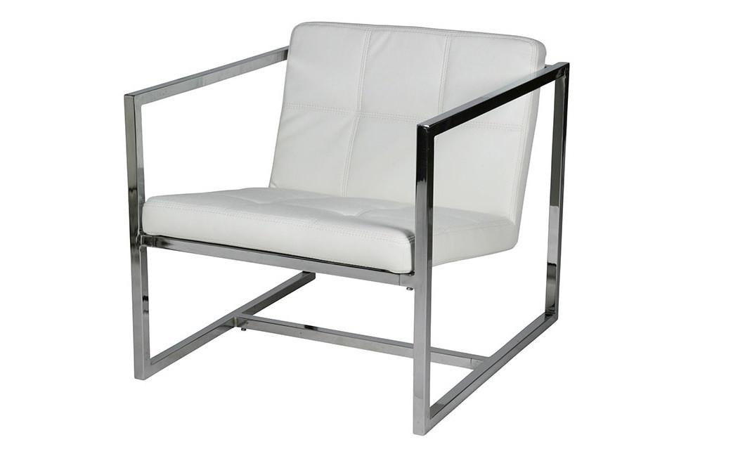 Кресло Нортон, мягкое, нержавеющая сталь, цвет белый