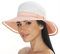 Модная летняя шляпа женская с персиковым полем белая 177-02.52