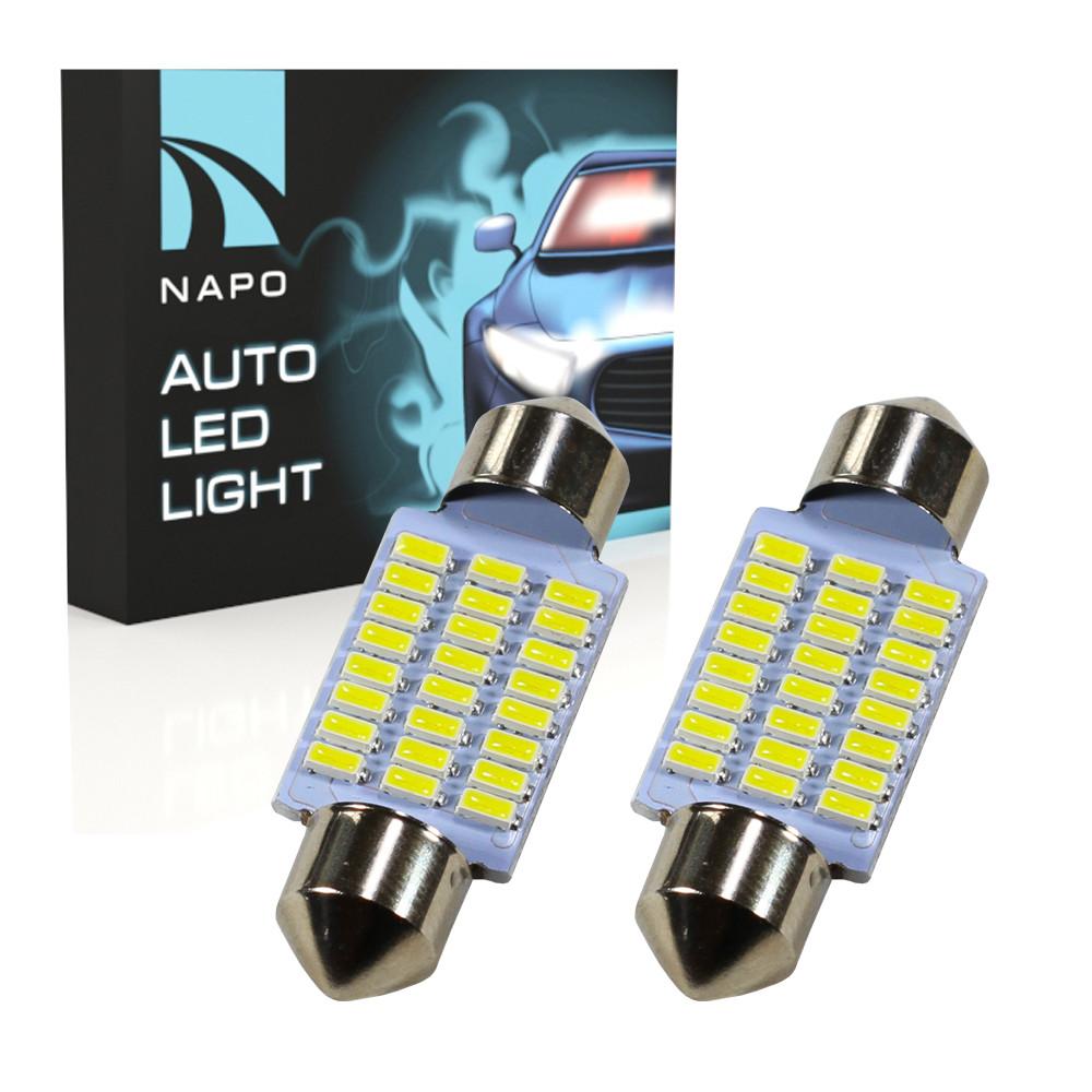 Лампа автомобильная LED SJ-4014-24SMD-36mm комплект 2 шт C5W C10W T11 цвет свечения белый