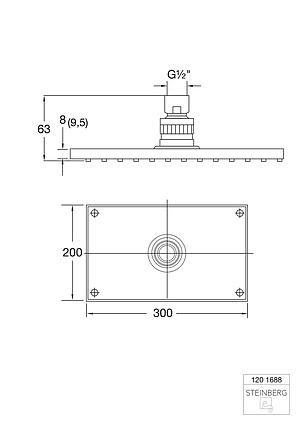 "120 1688 Steinberg Serie 120 Верхний душ 200 x 300 x 8мм с системой ""изи-клин"", только вмес, фото 2"