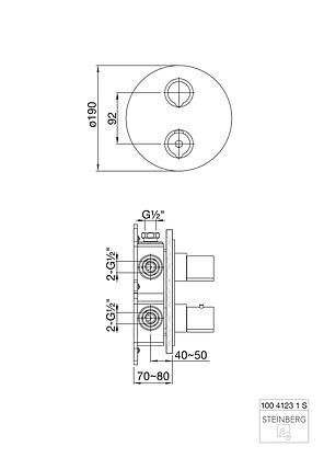 100 4123 1 S Steinberg Зовняшня частина термостата з 3-ходовим перемикачем, чорний матовий, фото 2