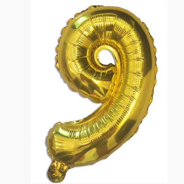 "Фольгована кулька цифра ""9"" золото 35см Китай"