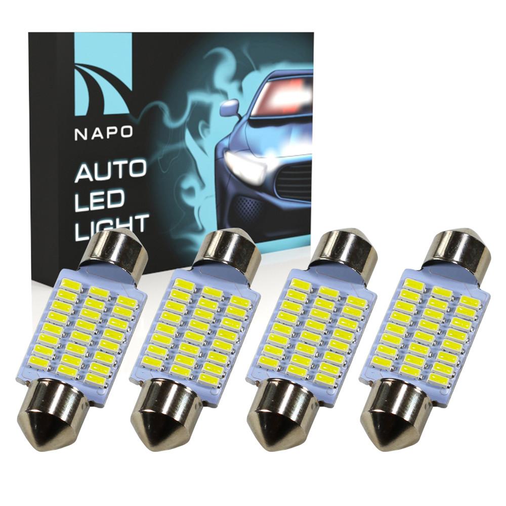 Лампа автомобильная LED SJ-4014-24SMD-36mm комплект 4 шт C5W C10W T11 цвет свечения белый