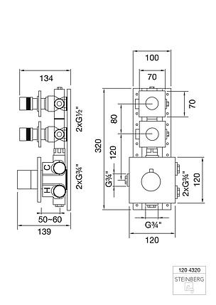"""120 4320 Steinberg Serie 120 Термостат 3/4"""", вбудований, с 2-ма запірними вентилями  ½"""" ,, фото 2"""