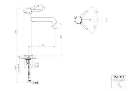 100 1710 Steinberg Serie 100 Змішувач для раковини одноважельний, без зливного ганітура,вилив 170 мм, фото 2