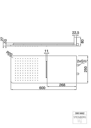 390 5662 Steinberg Serie 390 Wall Rain Душ. панель 600x250 мм, 2 типи струменю, з прямим підкл., фото 2