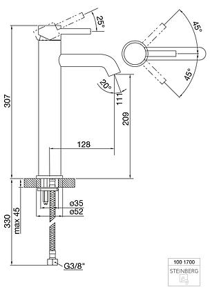100 1700  Steinberg Змішувач для раковини одноважельний, без зливного ганитура, фото 2