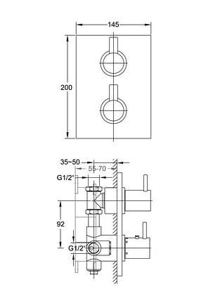 120 4102 1 Steinberg Serie 120 Зовнішня частина до вбудов. термостату, з регул. витрат води, фото 2
