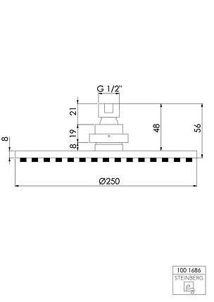 "100 1686 Steinberg Serie 100 Верхний душ Ø250 x 8мм с системой ""изи-клин"", только вместе с, фото 2"