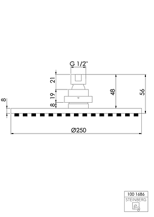 """100 1686 BN Steinberg Serie 100 Верхній душ Ø250 x 8мм з системою """"ізі-клін"""", шліф. нікель, фото 2"""